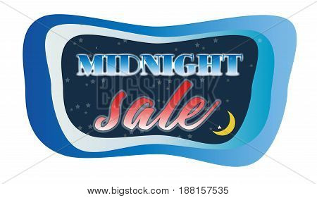 Abstract Midnight Sale Concept With Moon In Dark Sky