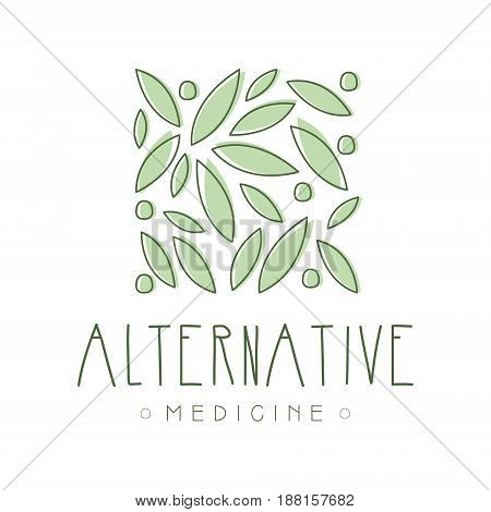 Alternative medicine logo symbol vector Illustration for business emblem, badge for yoga studio, homeopathy, holistic medicine center