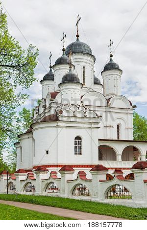 MOSCOW RUSSIA - May 20 2017. Transfiguration Cathedral in Bolshie Vyazyomy Manor estate of princes Golitsyn. The Christian church was constructed at the end of the XVI century.