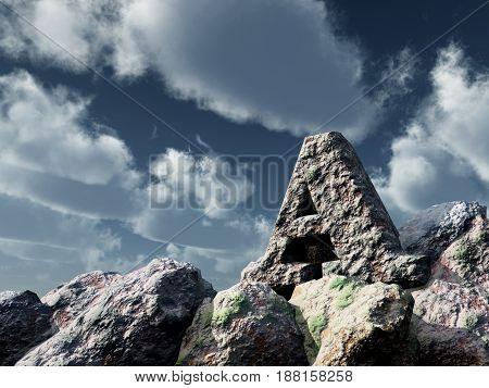 letter a rock under blue sky - 3d illustration