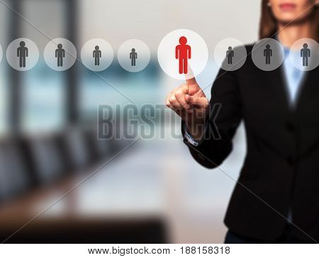 Businesswomen Hand Select New Employee From Electronic Interface Using For Business Technology, Inte