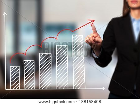 Businesswoman Hand Drawing Growth Graph On Visual Screen