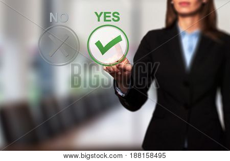 Hand Of Businesswoman Press Yes Button