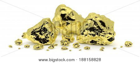 Big and small golden nuggets closeup isolated on white background. Gold ore in its origin as pieces of gold. Horizontal 3D illustration