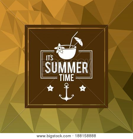 abstract polygonal background with square frame of logo text summer time with coconut cocktail vector illustration