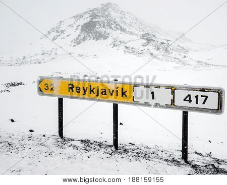 Icelandic Road Sign With Direction To Reykjavik