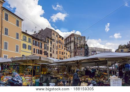 Rome Italy february 11th 2017: market with unidentified people on the Campo de Fiori on february 11 2017 in Rome.1869 the flower market of the famous Piazza Navona was relocated to the Campo de Fiori