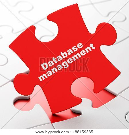 Database concept: Database Management on Red puzzle pieces background, 3D rendering