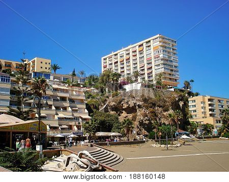 Torremolinos, Spain - September 17, 2016: Torremolinos Costa de la Carihuela   beach