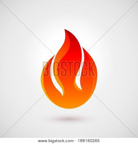 Fire Icon in Flat Style with Shadow. Illustration for Creative Design