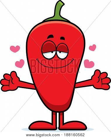 Cartoon Chili Pepper Hug