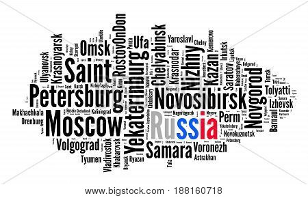 Localities in Russia word cloud concept over white background