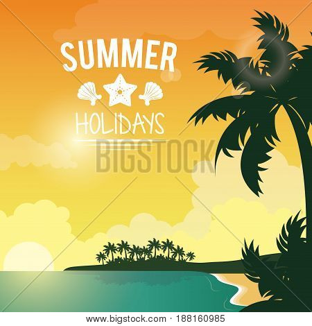 poster sunset seaside with logo summer holydays vector illustration