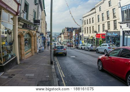 Exeter, Devon, England - October 23, 2016: Fore Street in Exeter City