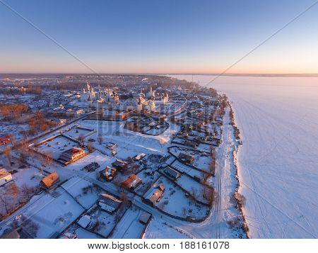 The ancient town of Rostov the Great bird's-eye view. Frosty morning. Winter. Rostov Kremlin. The frozen Lake Nero. Yaroslavl Region. Russia