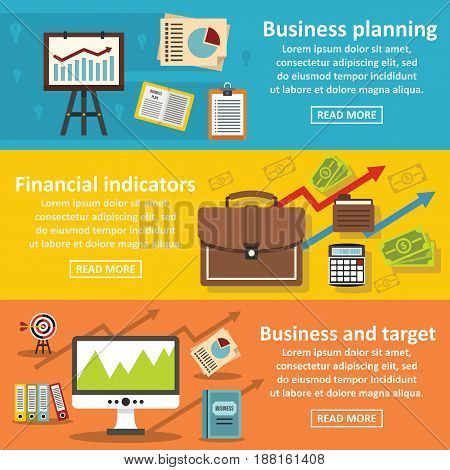 Business plan banner horizontal concept set. Flat illustration of 3 business plan vector banner horizontal concepts for web