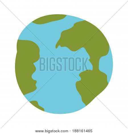 white background with hand drawn color silhouette of world sphere vector illustration