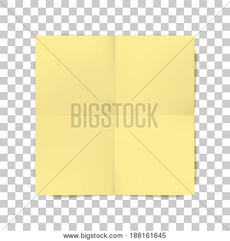 Yellow square folded Paper Sheet with place for Your Text or Design. Vector Illustration