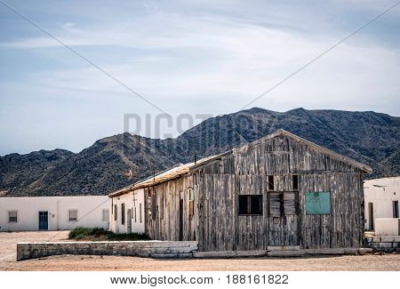 Houses in the village of Almadraba of Monteleva near of the exploitation of salt in the natural park of Cabo de Gata Almeria Andalusia Spain