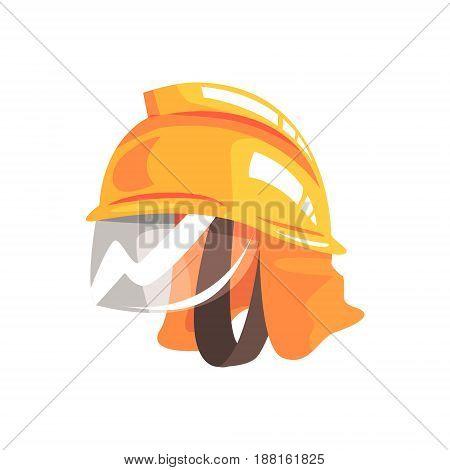 Orange safety helmet for fireman vector Illustration isolated on a white background