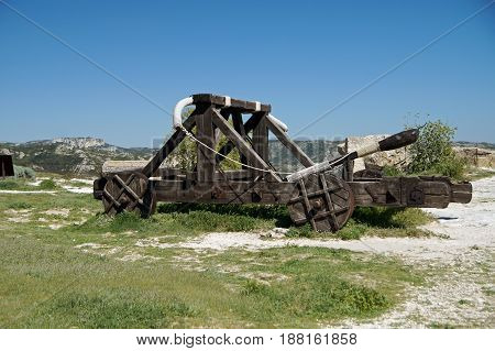 Middle age catapult used as medieval siege engine
