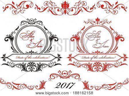 Wedding vintage frames. Press wall. A set of monograms in vector form.