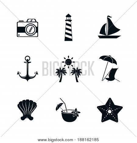 monochrome silhouette set of elements for summer time vector illustration