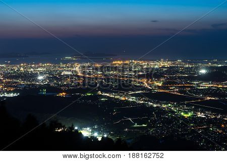 Nightview of Fukuoka City at dusk in Fukuoka, Japan.