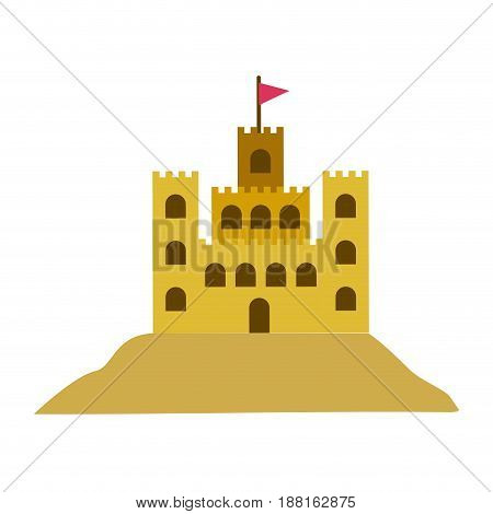 color silhouette with sand castle vector illustration