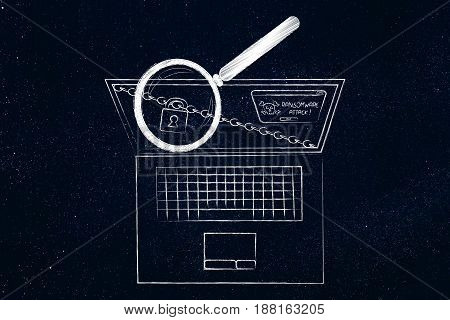 Laptop With Ransomware Alert Analysed By Magnifying Glass