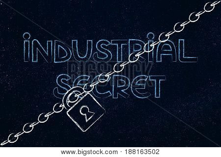 Lock And Chain Blocking The Word Industrial Secret