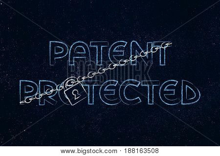 Lock And Chain Blocking The Word Patent Protected