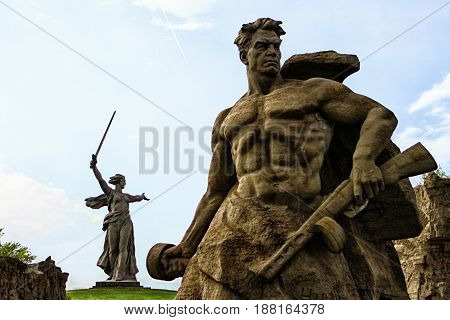 Volgograd russia may 2017 the monument the motherland calls sculpture of a soviet soldier