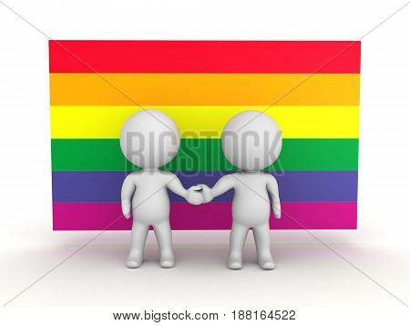 3D Illustration of gay couple with gay flag behind. Image showing minority rights.