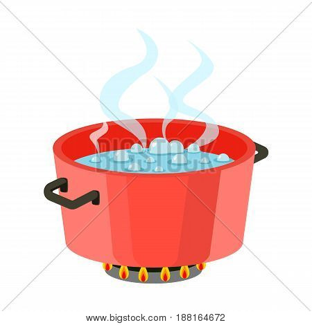 Boiling water in pan Red cooking pot on stove with water and steam Flat design vector.