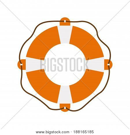 color silhouette of flotation hoop with rope vector illustration