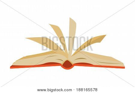 red covered opened book with pages fluttering.