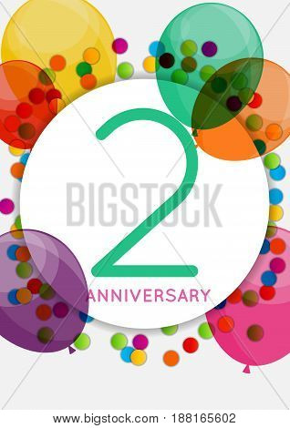 Template 2 Years Anniversary Congratulations, Greeting Card, Invitation Vector Illustration EPS10