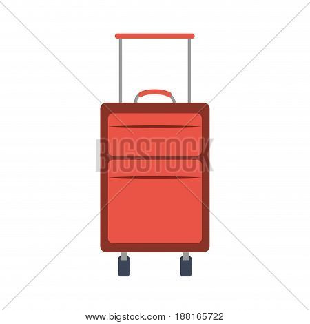 color silhouette with suitcase of traveler vector illustration