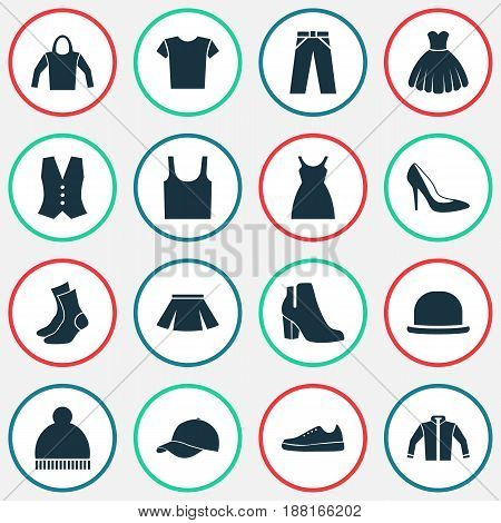 Clothes Icons Set. Collection Of Trilby, Sneakers, Casual And Other Elements. Also Includes Symbols Such As Pompom, Heel, Singlet.