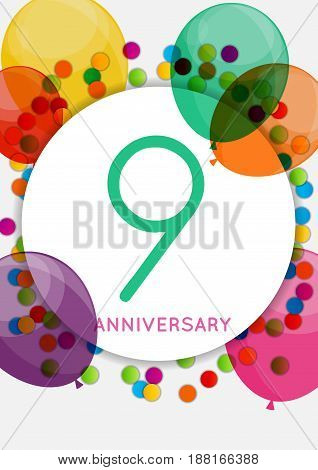 Template 9 Years Anniversary Congratulations, Greeting Card, Invitation Vector Illustration EPS10