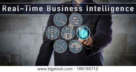 Blue chip data manager pushing stopwatch in a Real-Time Business Intelligence application. Concept for access to live data within a few seconds reduced data latency action and analysis latency.