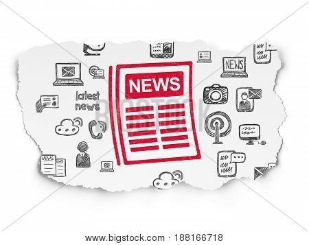News concept: Painted red Newspaper icon on Torn Paper background with  Hand Drawn News Icons