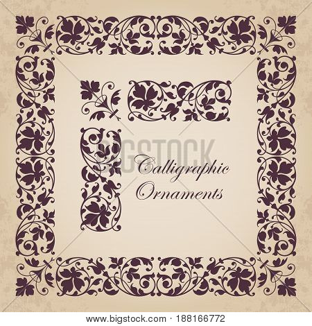 Decorative calligraphic ornaments, corners, borders and frames for page decoration and design