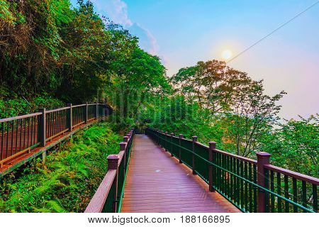 Path with sunset and forest in Sun Moon Lake