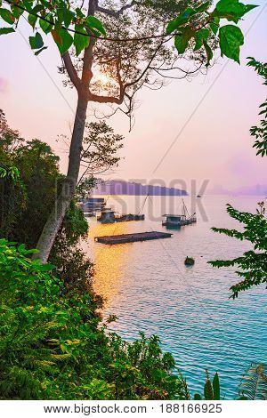 View of Sun Moon Lake and nature during sunset
