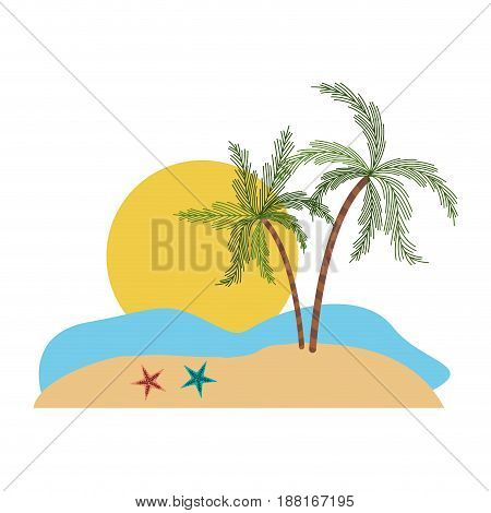 color silhouette with landscape of sea and big sun and palm trees vector illustration