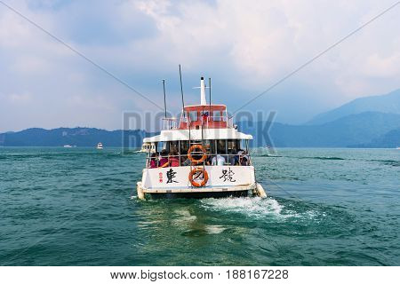 NANTOU TAIWAN - MAY 06: This is a boat on Sun Moon Lake which tourists as transportation to tour the lake and visit different areas of the lake on May 06 2017 in Nantou