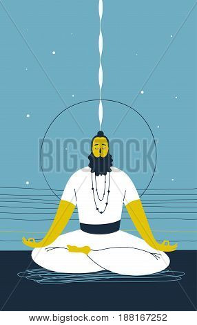 Male yogi with beard sits cross legged and meditates against abstract blue background with lines and circle. Concept of mental wellness and spiritual growth. Vector illustration for website, banner.