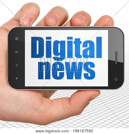 News concept: Hand Holding Smartphone with blue text Digital News on display, 3D rendering